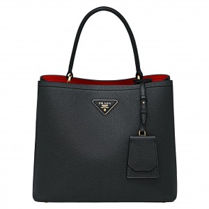 Prada Black Saffiano Leather Double Bag