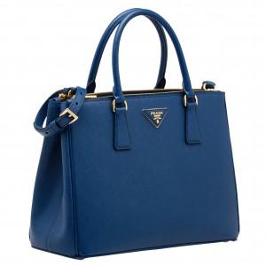 Prada Galleria Medium Bag In Blue Saffiano Leather