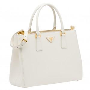 Prada Galleria Medium Bag In White Saffiano Leather