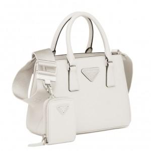 Prada Galleria Micro Bag In White Saffiano Leather