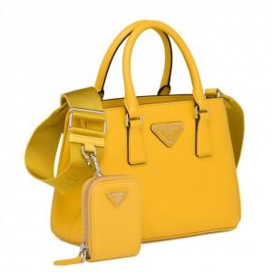 Prada Galleria Micro Bag In Yellow Saffiano Leather