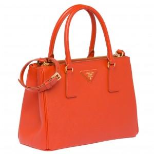 Prada Galleria Small Bag In Orange Saffiano Leather