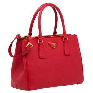 Prada Galleria Small Bag In Red Saffiano Leather