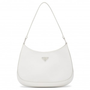 Prada Cleo Small Shoulder Bag In White Brushed Leather