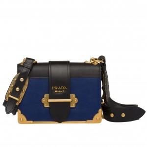 Prada Cahier Shoulder Bag In Blue/Black Leather