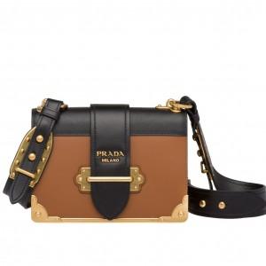 Prada Cahier Shoulder Bag In Brown/Black Leather