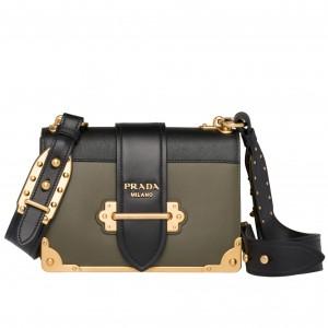 Prada Cahier Shoulder Bag In Green/Black Leather