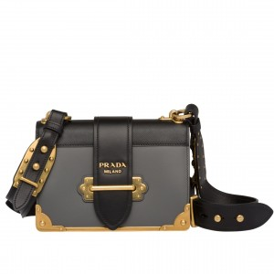 Prada Cahier Shoulder Bag In Grey/Black Leather