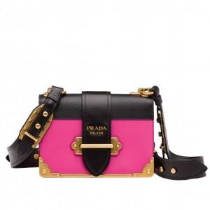 Prada Cahier Shoulder Bag In Pink/Black Leather