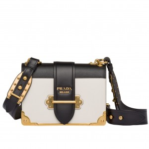 Prada Cahier Shoulder Bag In White/Black Leather