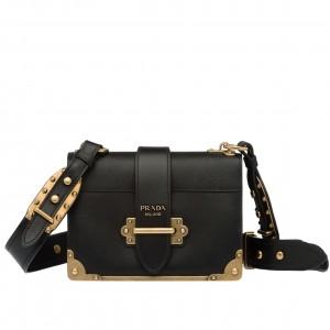 Prada Cahier Shoulder Bag In Black Leather