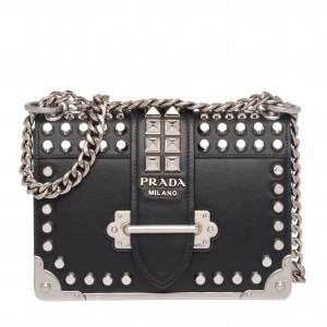 Prada Cahier Studded Leather Shoulder Bag