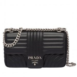 Prada Diagramme Flap Bag In Black Calfskin