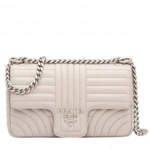 Prada Medium Diagramme Flap Bag In Ivory Calfskin