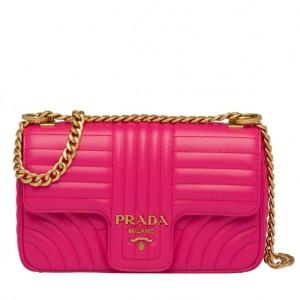 Prada Medium Diagramme Flap Bag In Rose Red Calfskin