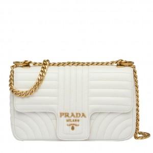 Prada Medium Diagramme Flap Bag In White Calfskin