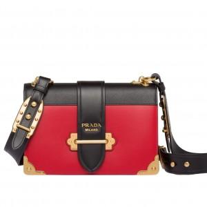 Prada Large Cahier Bag In Red/Black Leather