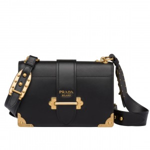 Prada Large Cahier Bag In Black Leather