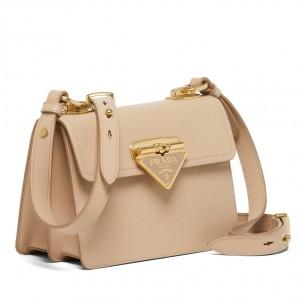 Prada Symbole Shoulder Bag In Beige Saffiano Leather