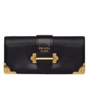 Prada Cahier Clutch In Black Saffiano Calf Leather