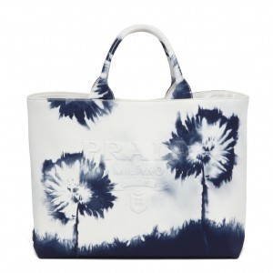 Prada Drill Tote Bag with Blue Printed