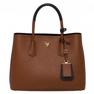 Prada Bicolor Double Medium Palisander Saffiano Bag