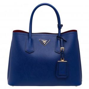 Prada Blue Saffiano Double Medium Bag