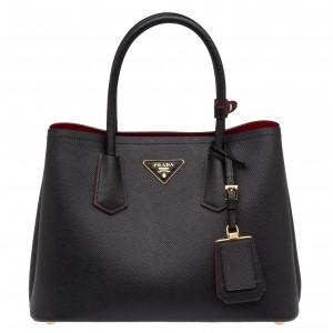 Prada Black Saffiano Double Small Bag