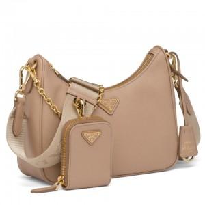 Prada Re-Edition 2005 Shoulder Bag In Beige Saffiano Leather