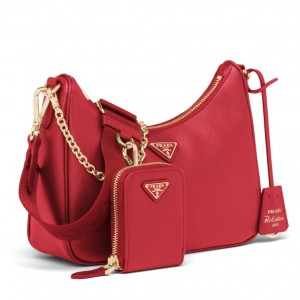 Prada Re-Edition 2005 Shoulder Bag In Red Saffiano Leather