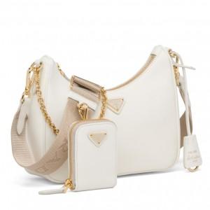 Prada Re-Edition 2005 Shoulder Bag In White Saffiano Leather