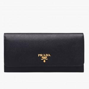 Prada Continental Wallet In Black Saffiano Leather