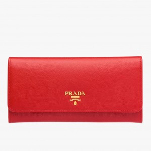 Prada Continental Wallet In Red Saffiano Leather