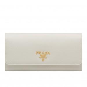Prada Continental Wallet In White Saffiano Leather