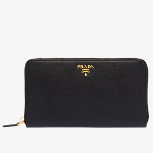 Prada Large Zipped Wallet In Black Saffiano Leather