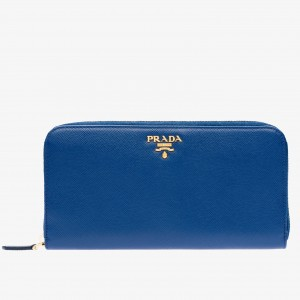 Prada Zipped Wallet In Blue Saffiano Leather