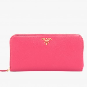 Prada Zipped Wallet In Pink Saffiano Leather