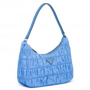Prada Mini Hobo Bag In Blue Nylon and Leather