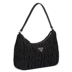 Prada Mini Hobo Bag In Black Nylon and Leather