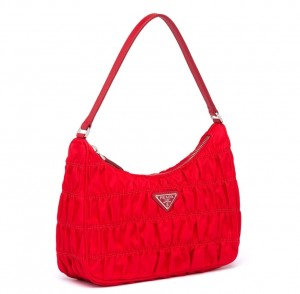 Prada Mini Hobo Bag In Red Nylon and Leather