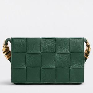 Bottega Veneta Cassette Bag In Green Grained Leather