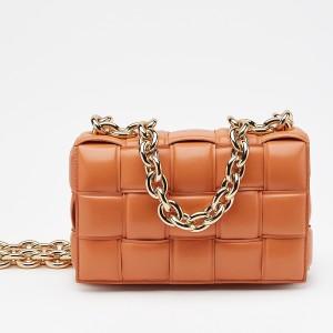 Bottega Veneta Chain Cassette Bag In Orange Calfskin