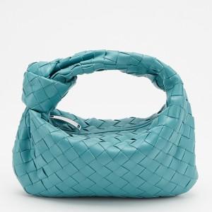 Bottega Veneta Mini BV Jodie Bag In Green Water Woven Leather
