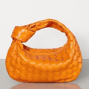 Bottega Veneta Mini BV Jodie Bag In Orange Woven Leather
