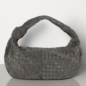Bottega Veneta Large BV Jodie Bag In Grey Woven Suede