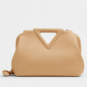 Bottega Veneta Small Point Top Handle Bag In Beige Leather