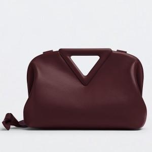 Bottega Veneta Small Point Top Handle Bag In Grape Leather