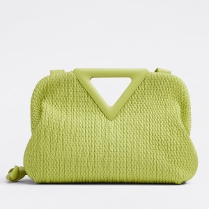 Bottega Veneta Small Point Bag In Seagrass Quilted Leather