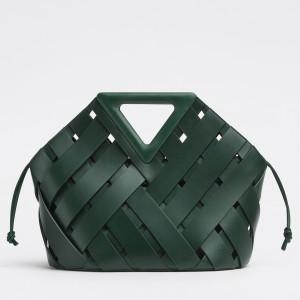Bottega Veneta Medium Point Bag In Green Intrecciato Leather