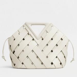 Bottega Veneta Medium Point Bag In White Intrecciato Leather
